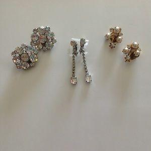 "Jewelry - Set of ""3"" clip on vintage earrings"